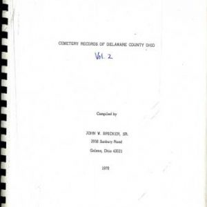 Cemetery Records Delaware County Ohio - History Book - Delaware County Historical Society