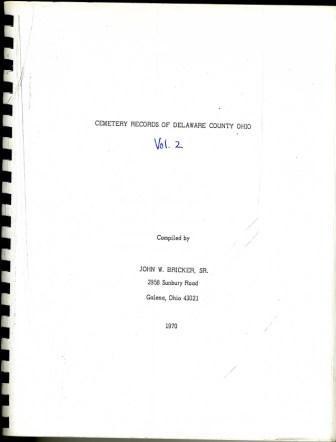 Cemetery Records Delaware County Ohio - History Book - Delaware County Historical Society