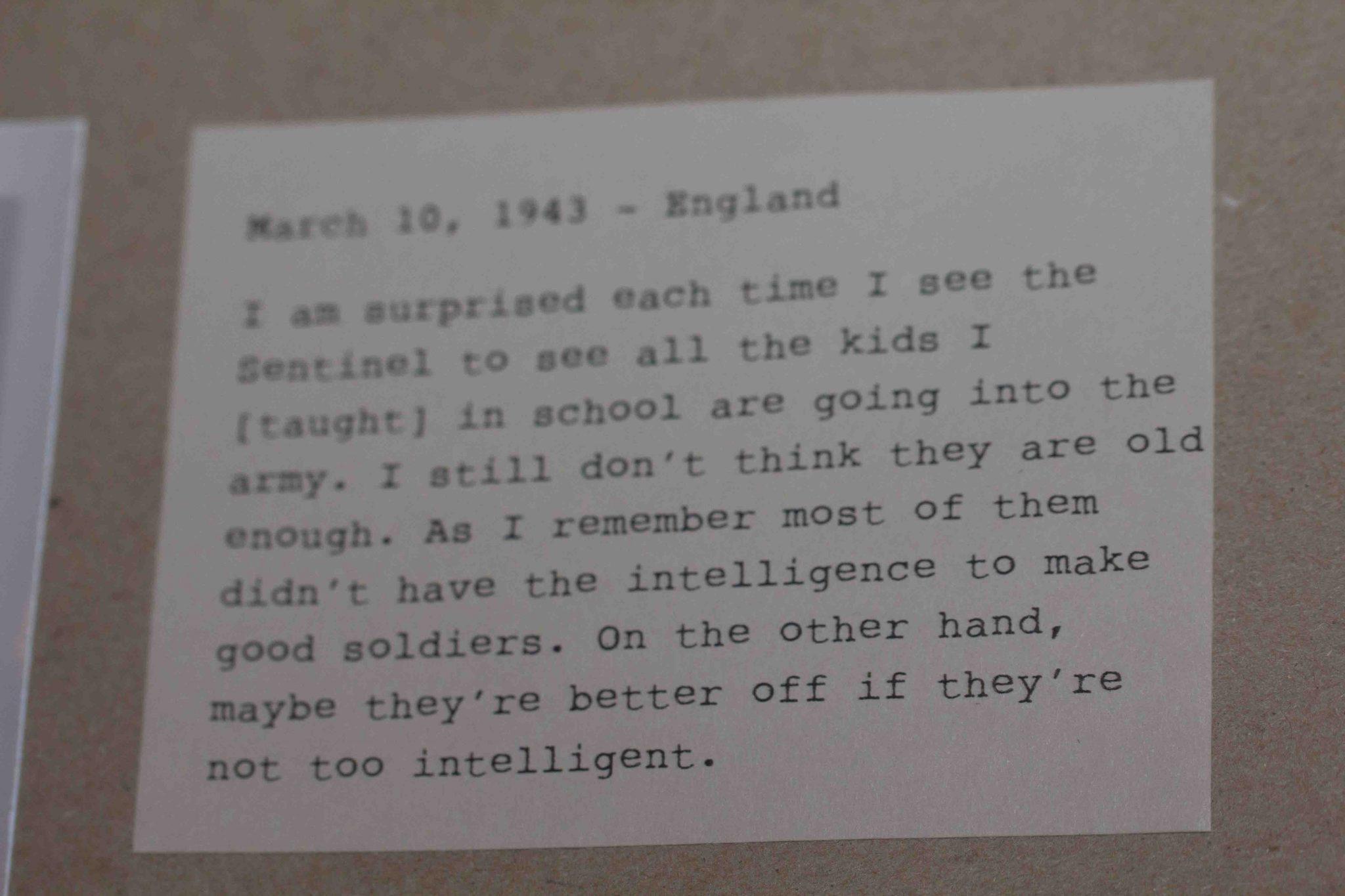 Letter Pete sent from Paris