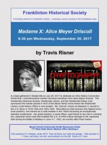 Alice Meyer Driscoll - Talk - Franklinton Historical Society - Columbus Ohio