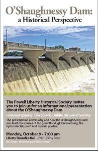 O'Shaughnessy Dam - History Program - Delaware County Ohio - Powell Liberty Historical Society