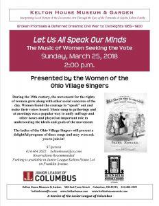 Suffrage Program - Kelton House - Columbus Ohio
