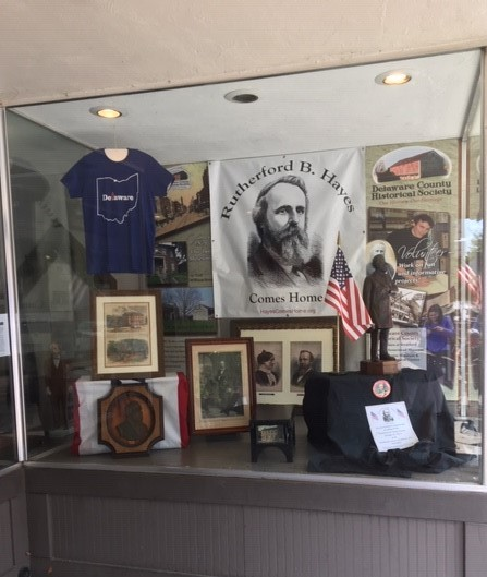 Hayes Coming Home - Hair Studio Window - Local History Display - Delaware County Historical Society Delaware Ohio