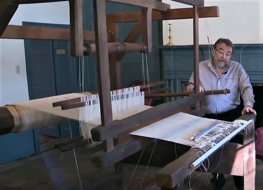 Meeker Museum Re-Opens - Curator Benny Shoults with rare 200-year old loom
