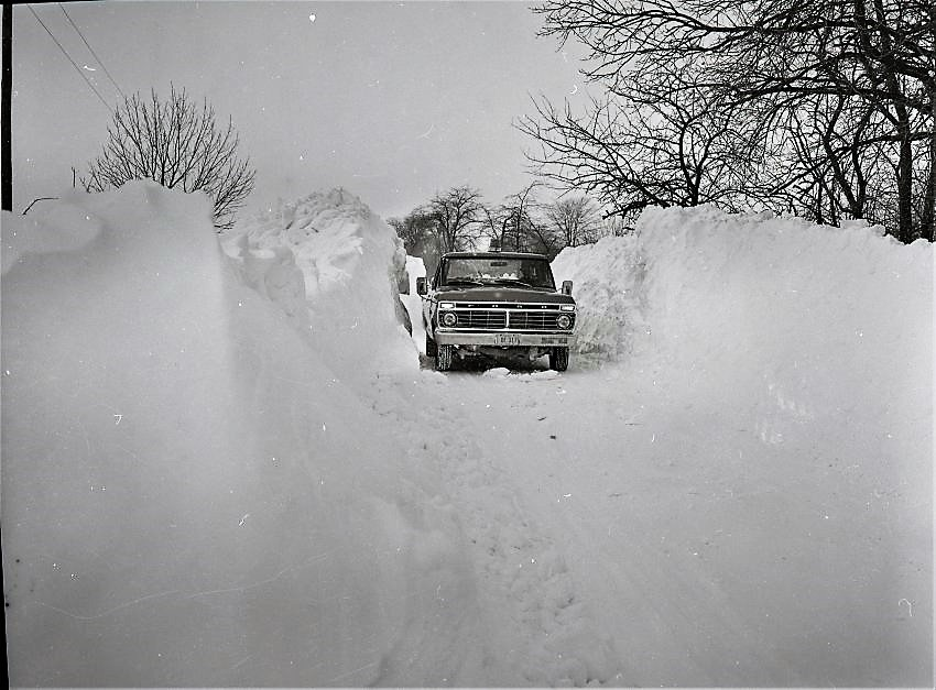 Blizzard of 1978 - Truck encircled by snow