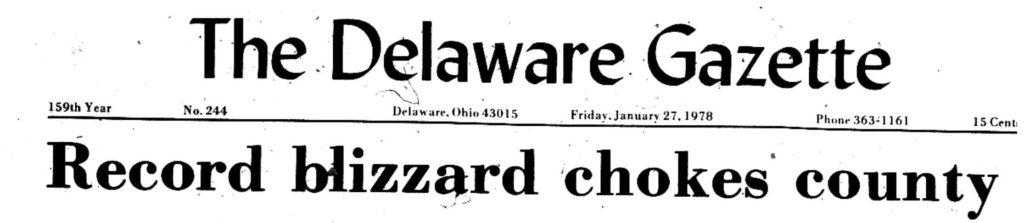 Blizzard of 1978 - Delaware Ohio - Delaware Gazette Headline